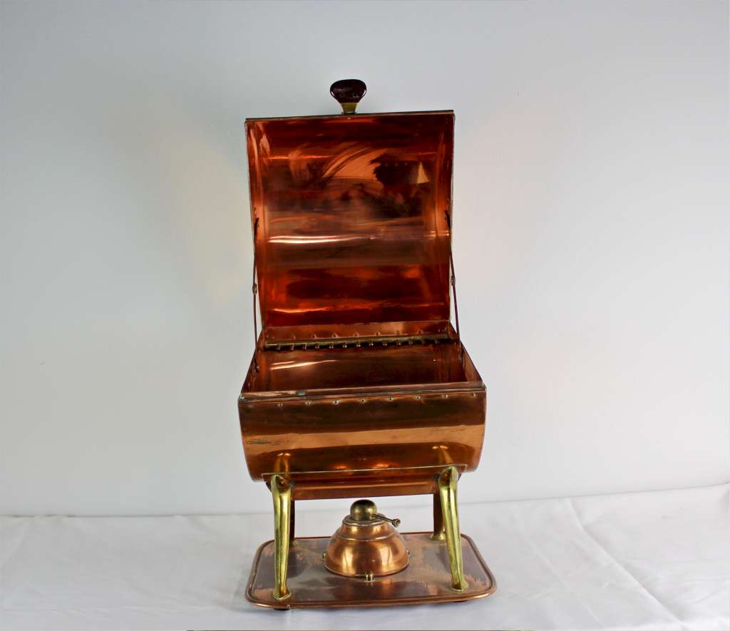 Arts and Crafts copper and brass plate warmer by W.A.S Benson stamped hammer marks