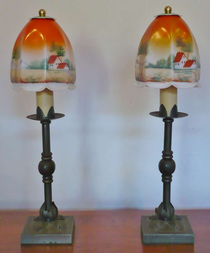 Pretty Pair Of Table Lamps Hand Painted Shades