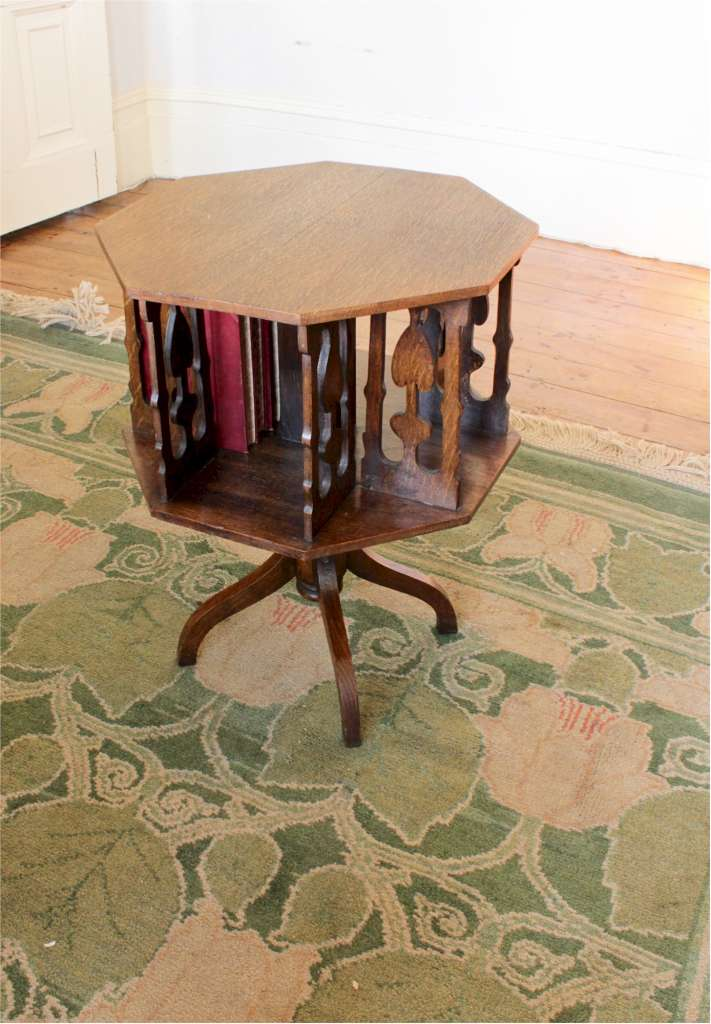Arts and crafts oak revolving bookcase