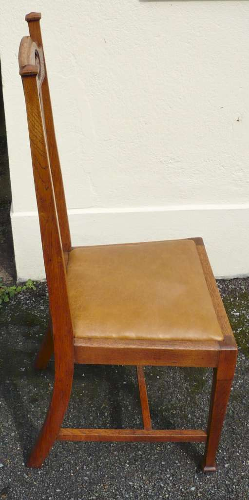 Set of 6 Arts and Crafts high back chairs in oak