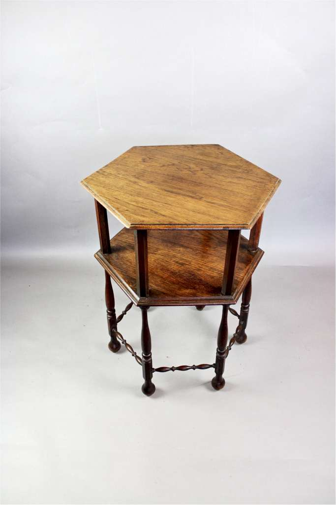 Arts And Crafts Occasional Table In Oak With Charming Bobbin Stretchers Furniture Tables