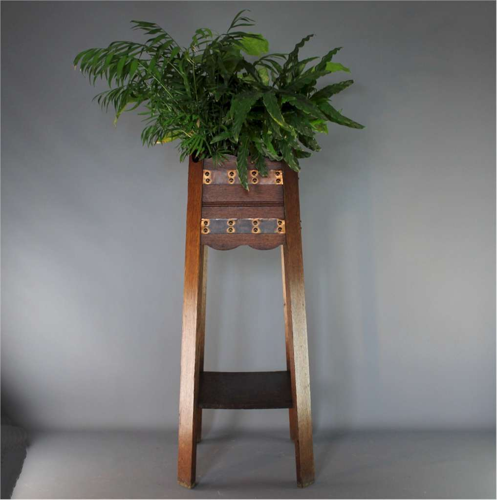 Arts and Crafts oak and copper planter