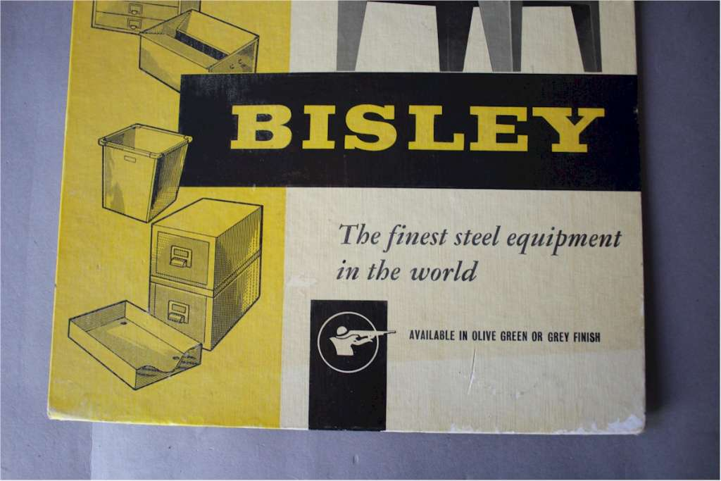 Original cardboard advert for Bisley steel furniture