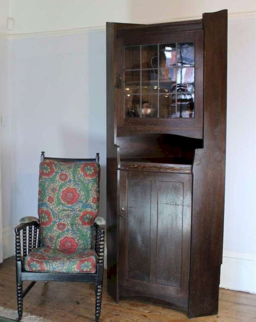 Tall Corner Cabinets Furniture: Arts And Crafts Oak Tall Corner Display Cabinet By Liberty