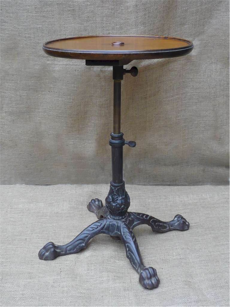 Adjustable walnut side table with cast iron base for Side table base