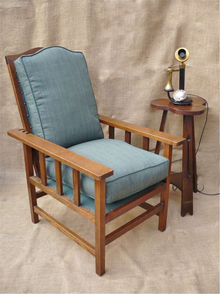 arts and crafts armchair with adjustable back sold art. Black Bedroom Furniture Sets. Home Design Ideas