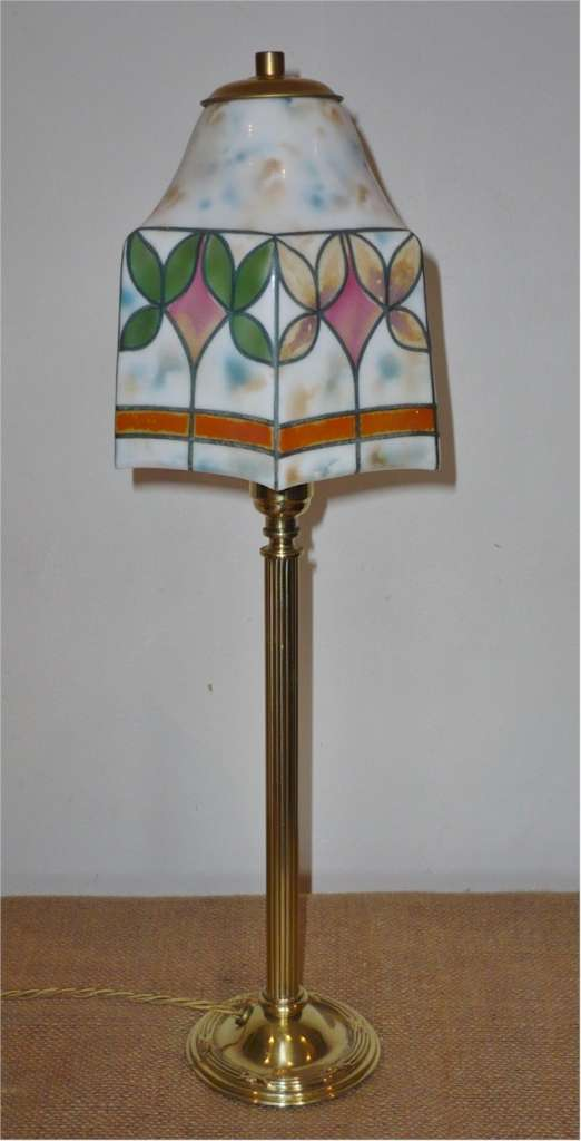 Pretty table lamp with brass base and hand painted shade lighting pretty table lamp with brass base and hand painted shade aloadofball Choice Image