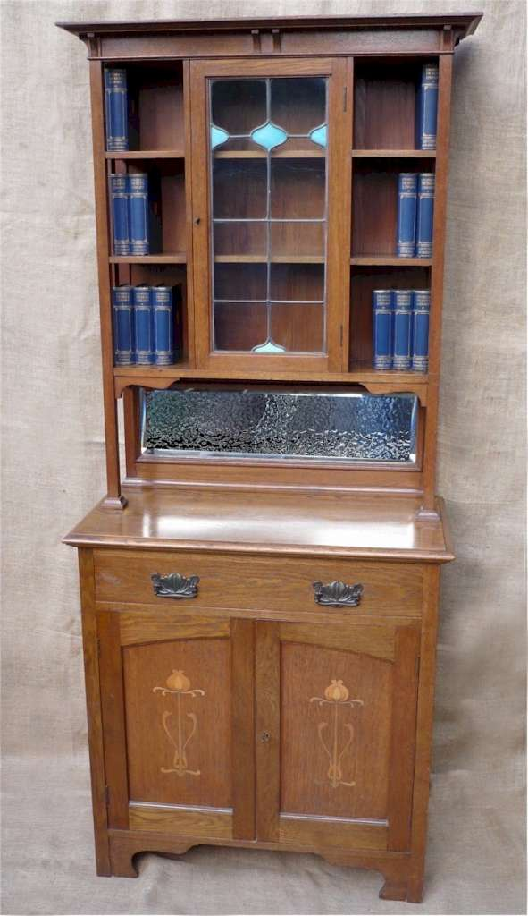 striking arts and crafts bookcase in oak latest stock. Black Bedroom Furniture Sets. Home Design Ideas