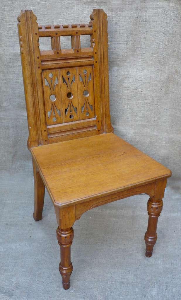 Fine hall chair in oak by Lamb of Manchester
