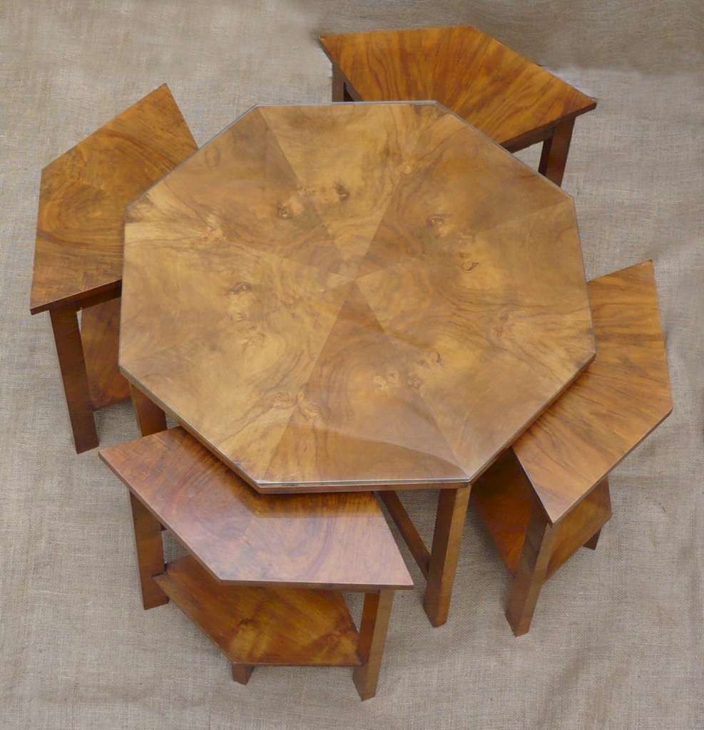 Jazzy art deco quintetto nest in figured walnut