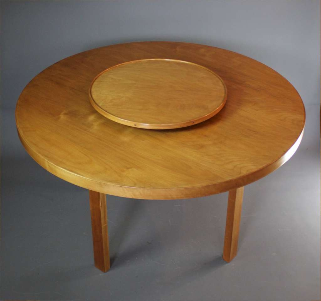 Alvar Aalto circular dining table with Lazy Susan by Finmar