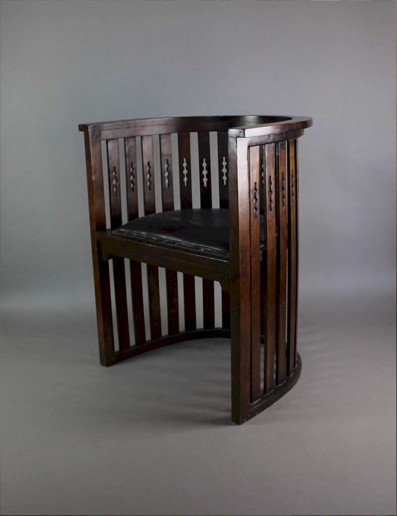 Arts And Crafts Mahogany Barrel Chair With Pierced Cutouts C1910 Sold Art Furniture