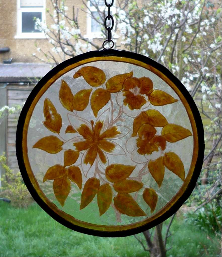 Window hanger , painted glasss Med Flowers