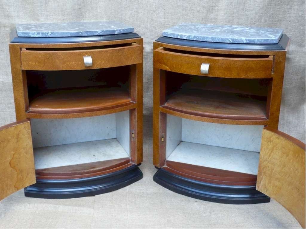 Pr French art deco bedside cabinets
