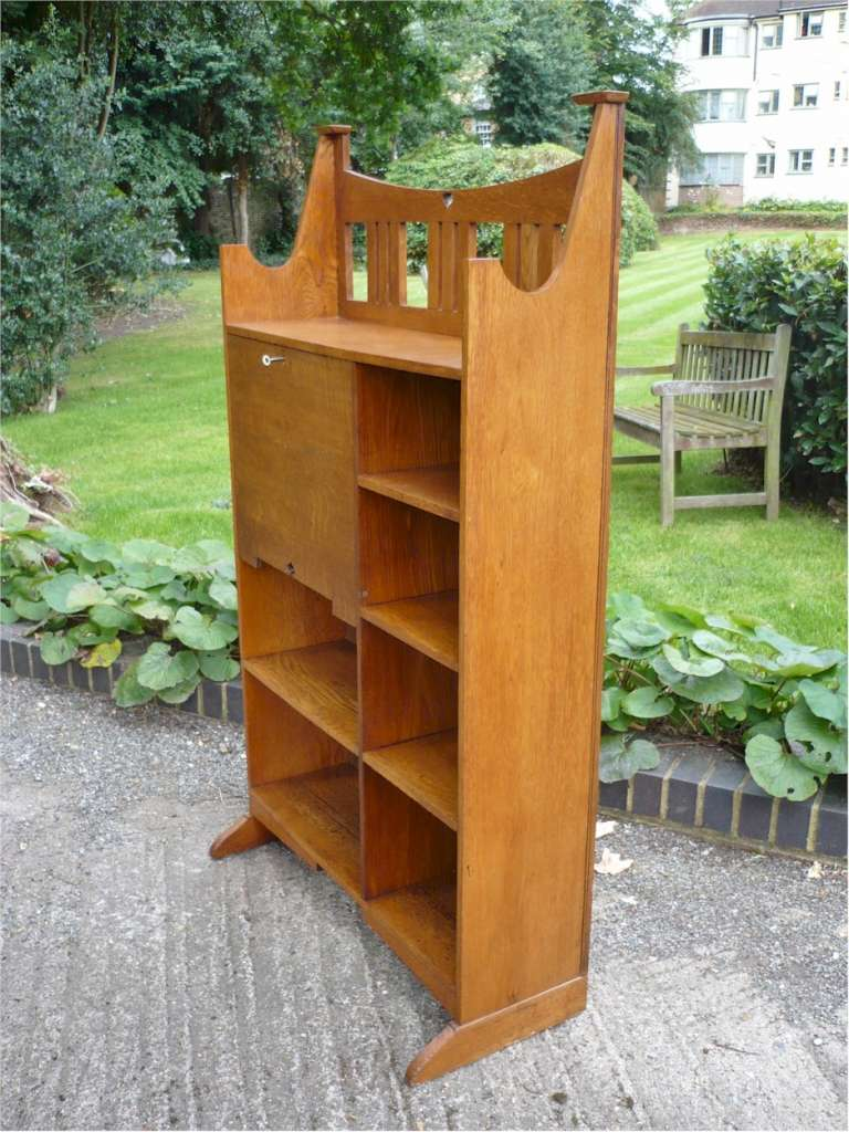 Arts and crafts bookcase / bureau in golden oak