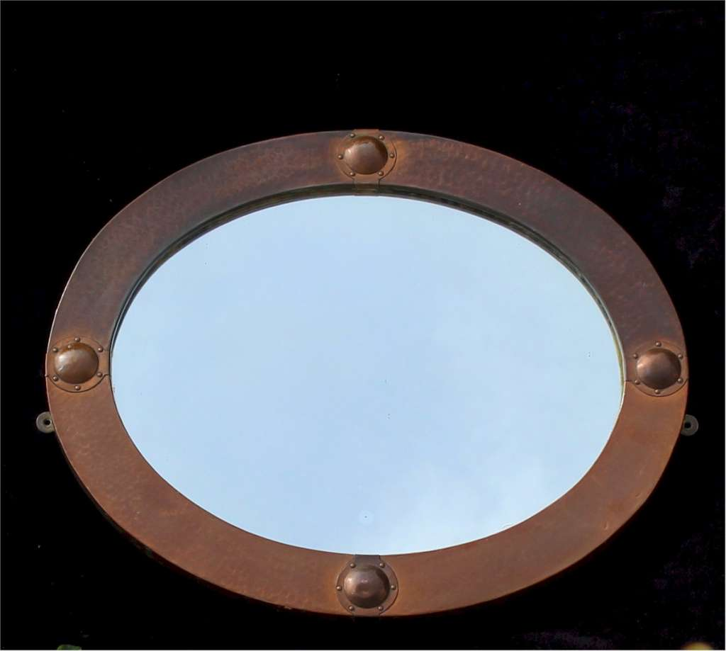 Arts And Crafts Oval Copper Mirror Mirrors Art Furniture