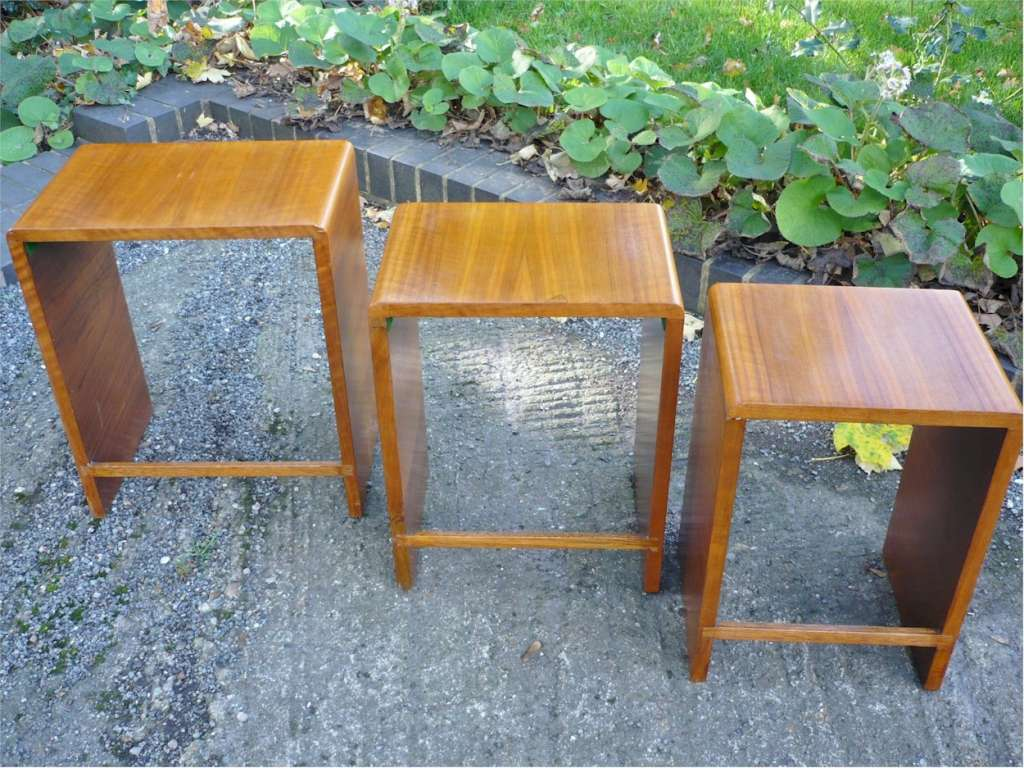 Small nest of figured walnut tables probably by heals for Small nest of tables