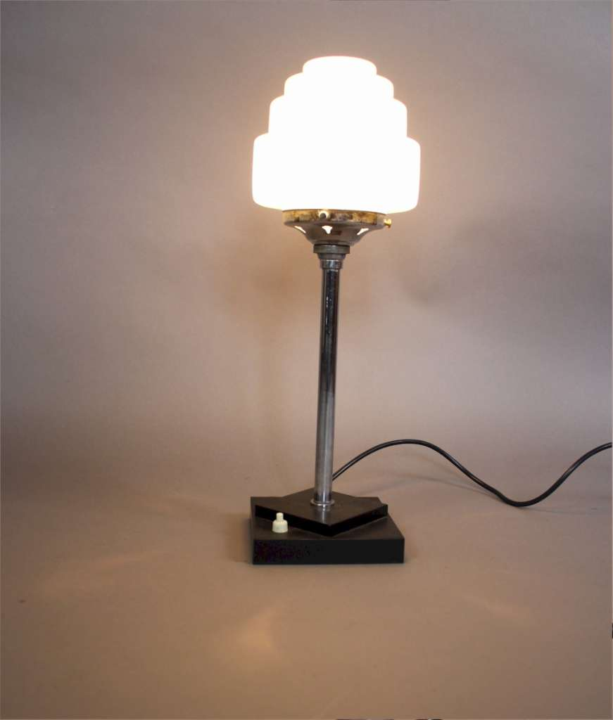 Art Deco chrome lamp with stepped shade Latest Stock Art Furniture