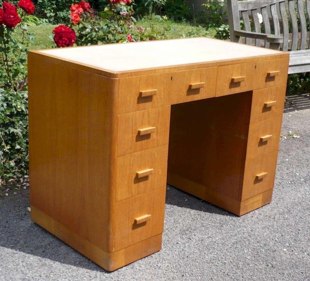 Heals style desk in golden oak Furniture