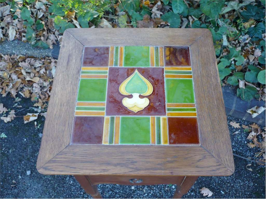 Large arts and crafts tile top table with Yin Yang cut outs