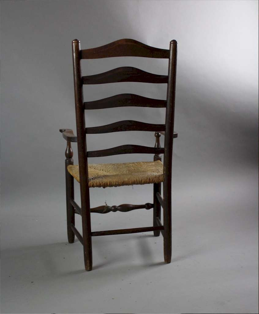 arts and Crafts Child's oak ladderback rushed chair after a design by Ernest Gimson