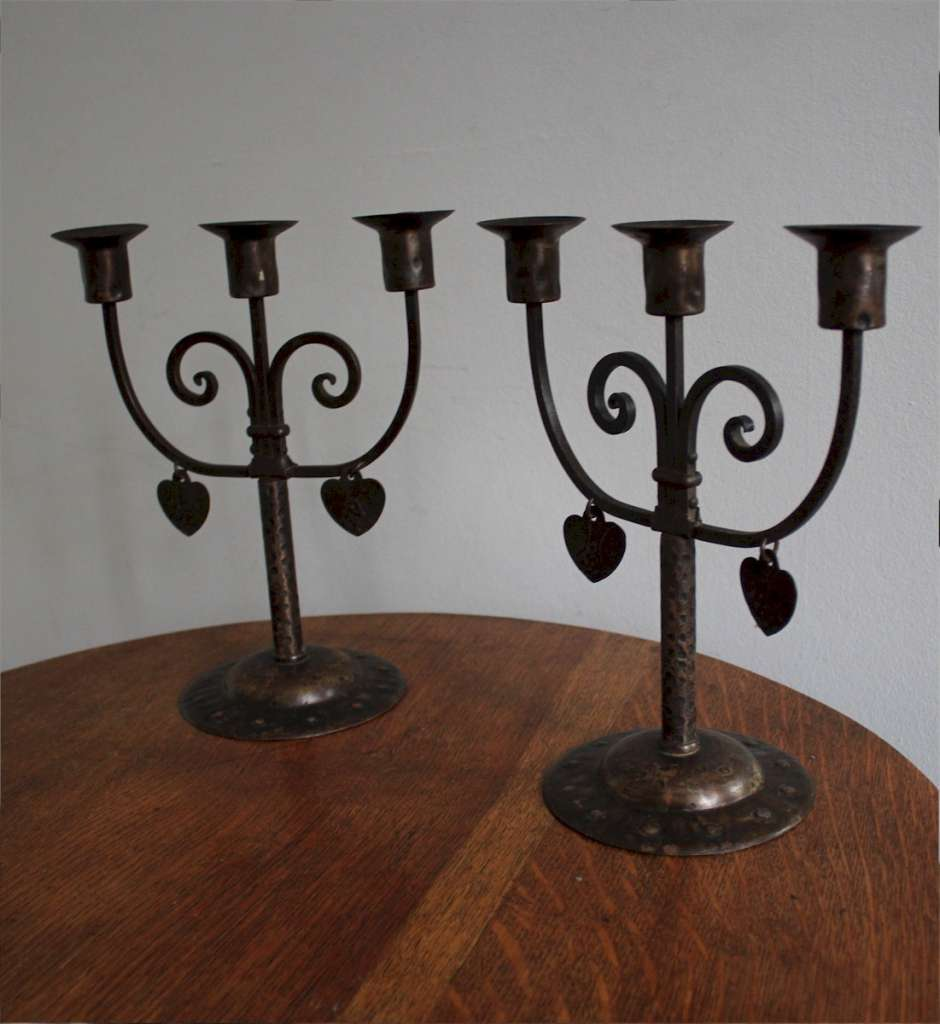 Pair of Goberg arts and crafts candlesticks