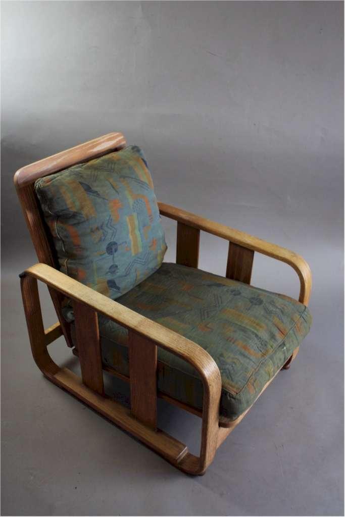 1930's Heals Limed Oak Bentwood Lounge Chair.