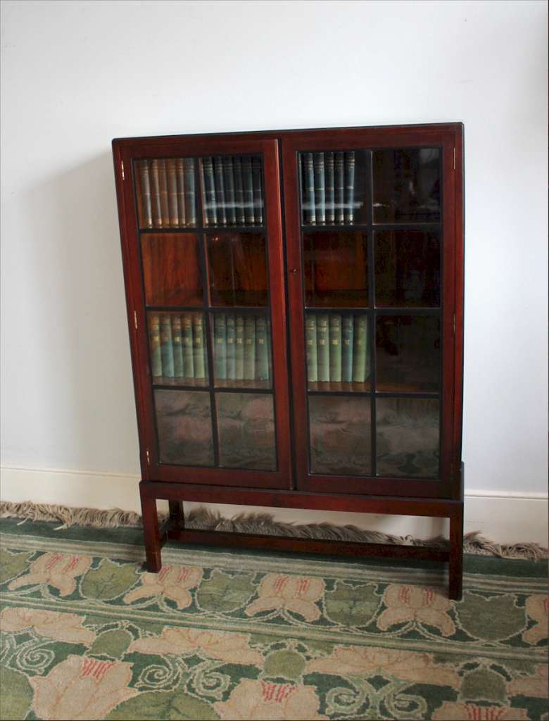 Heals mahogany lattice glazed bookcase c1920