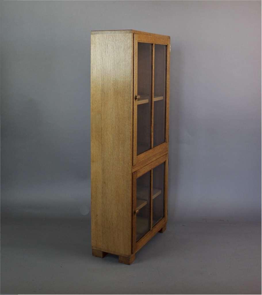 A 1930 39 S Heals Two Door Light Oak Glazed Bookcase With Label To Door Sold Art Furniture