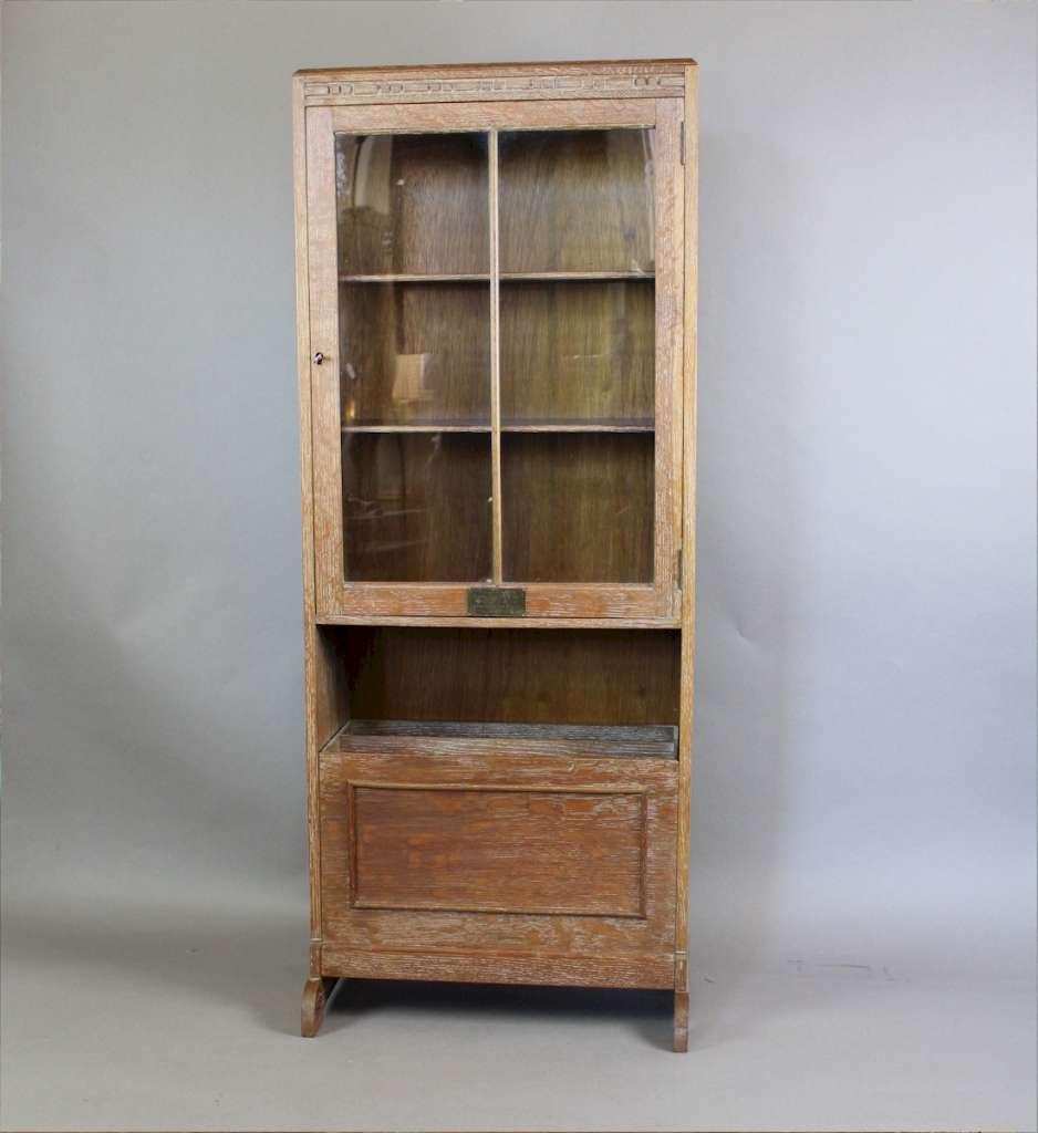 1930 39 s limed oak glazed bookcase with interesting fall