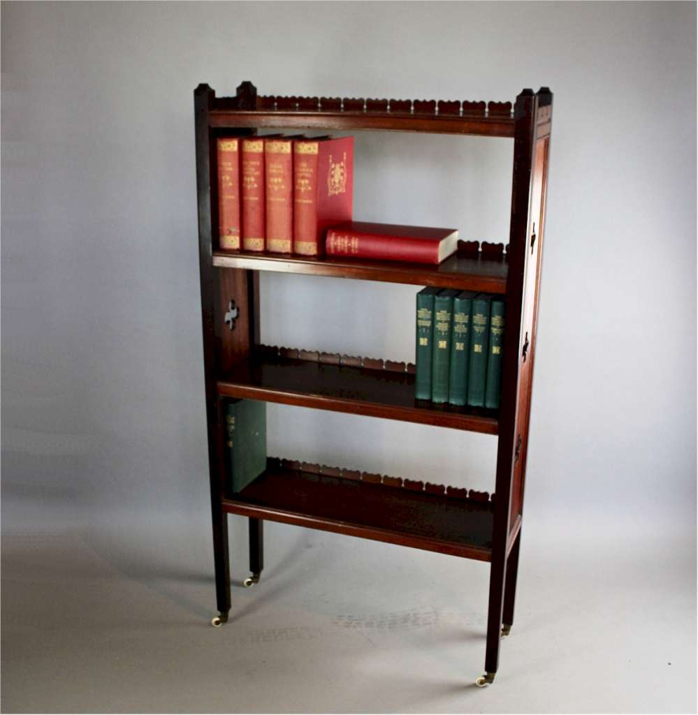 Dainty Mahogany Aesthetic Movement Open Bookcase Art Furniture