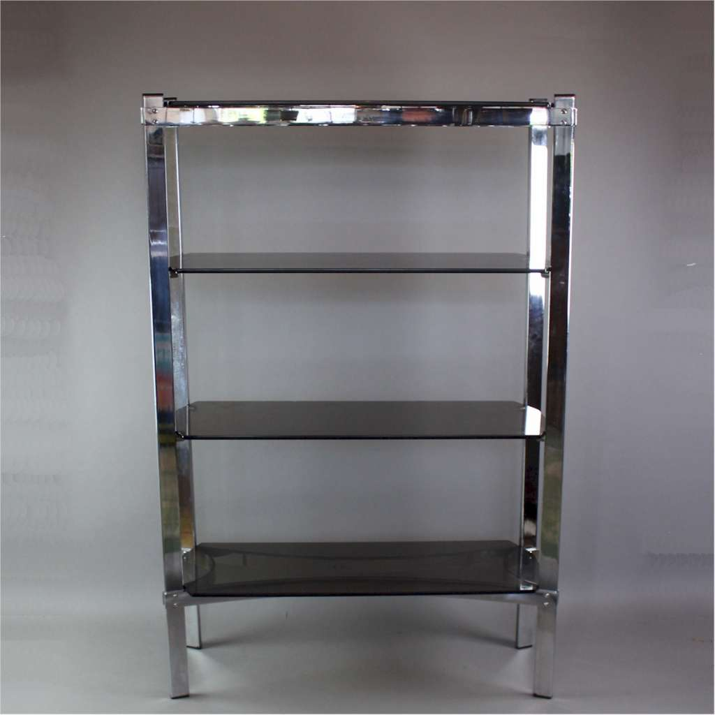 Merrow Associates chrome shelf unit with four smoked glass shelves ...