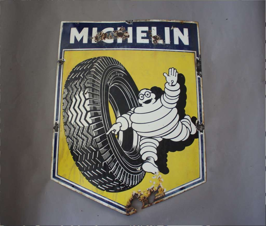 Original Michelin enamelled sign c1930's