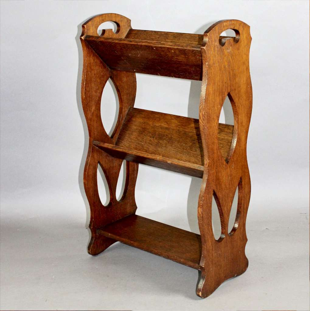 Arts And Crafts Oak Book Rack With Pierced Handles Latest Stock Art Furniture