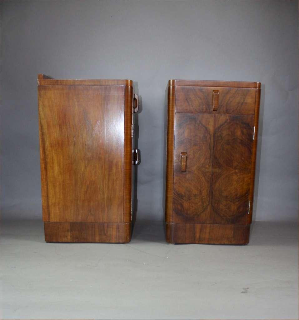 Pair Of Art Deco Burr Walnut Bedside Cabinet C1930 39 S Latest Stock Art Furniture