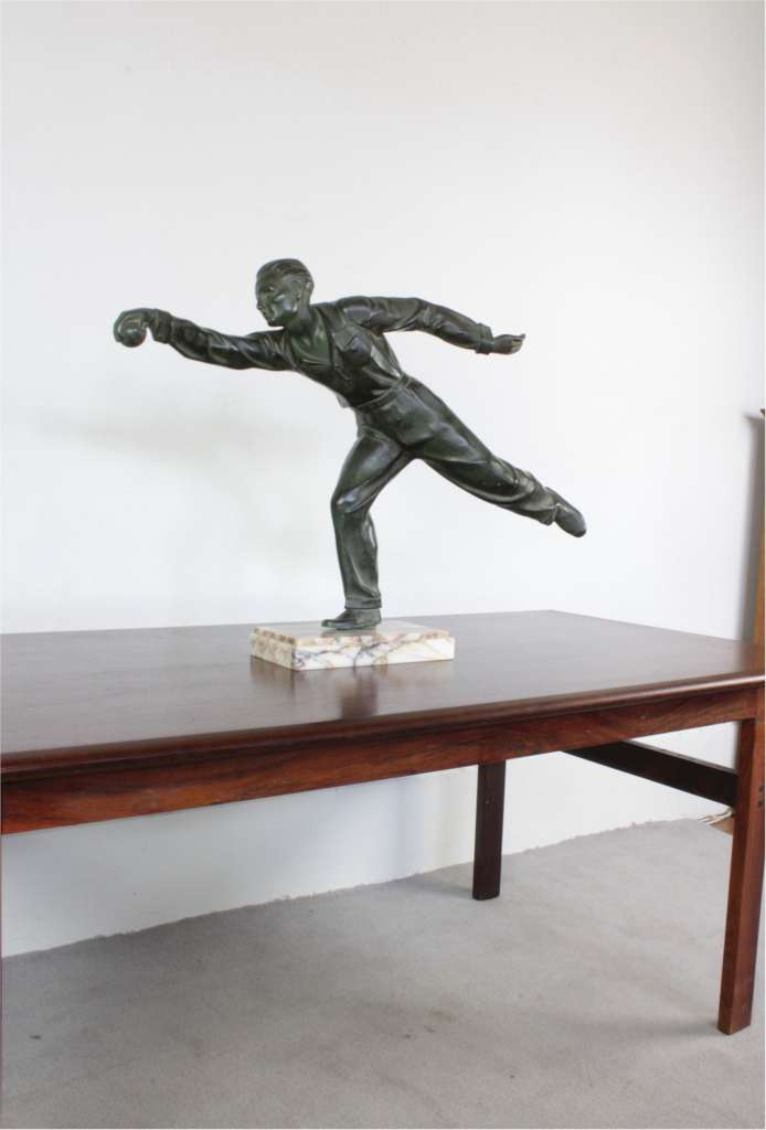 Art Deco verdi gris spelter figure of a petanque player