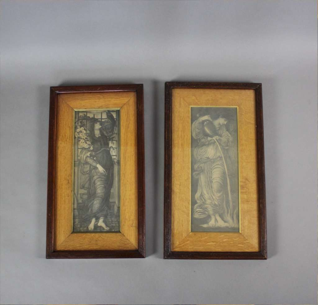 Pre-Raphaelite pair of period prints by Burne-Jones