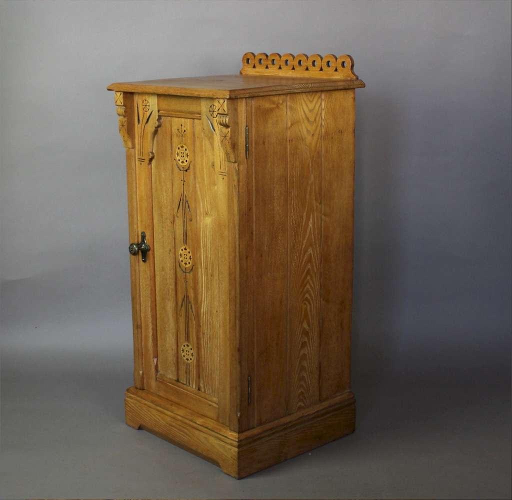 Gothic Revival Ash Bedside Cabinet C1860 Art Furniture