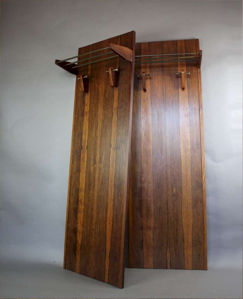 Mid Century Rosewood Hallstands With Brass And Rosewood Shelf Hooks C1960 39 S Warehouse Art