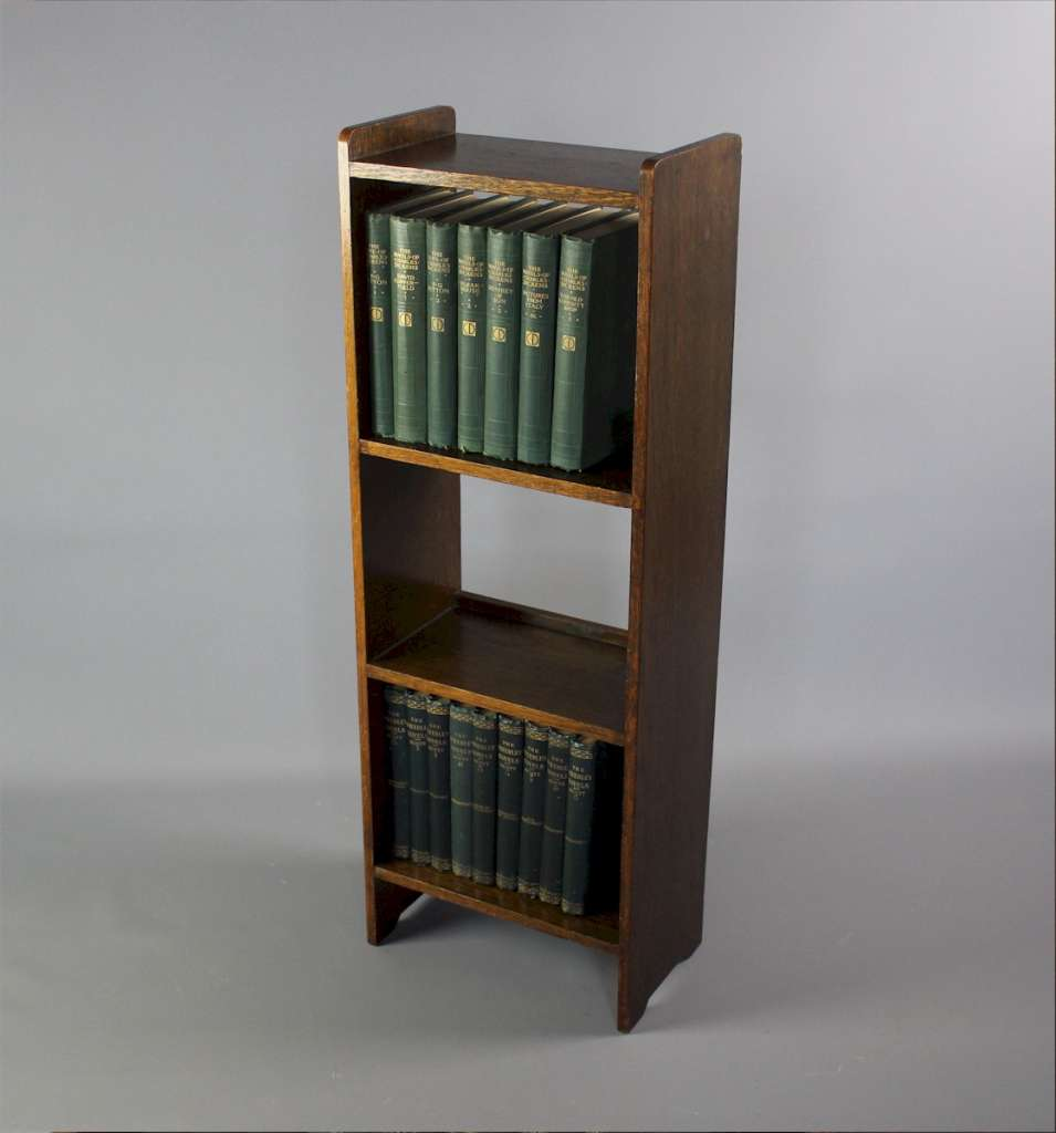 Edwardian oak open bookcase