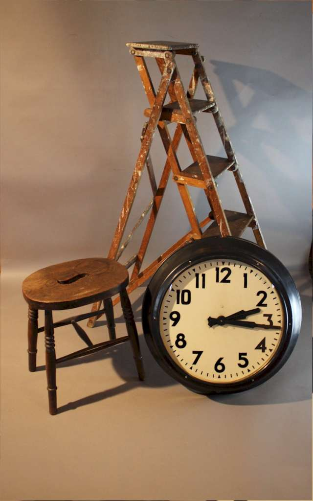 Large Factory clock by Smiths in a metal frame