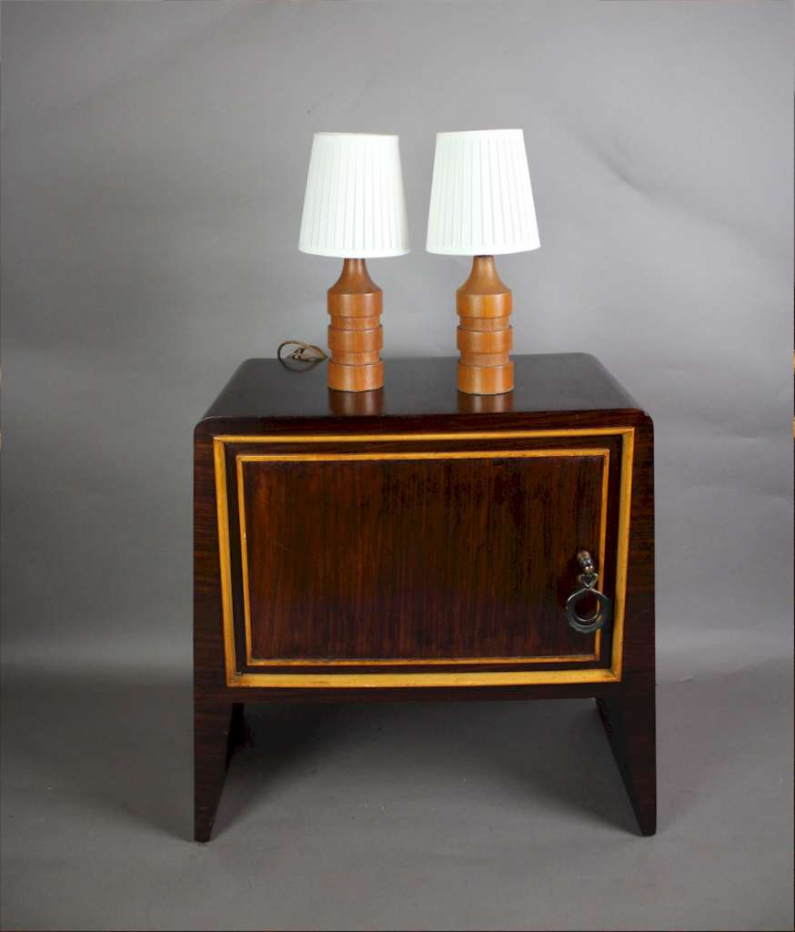 Teak Mid Century Pair Of Table Lamps Art Furniture