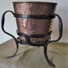 Arts and crafts log / coal bucket in copper