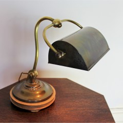 Edwardian brass bankers lamp by Siemans