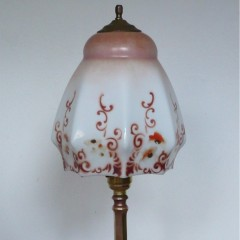 Arts and crafts table lamp with hand painted glass