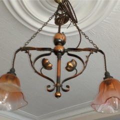 Pretty arts and crafts ceiling light with flowers
