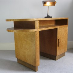 Art Deco desk c1930 in quilted maple