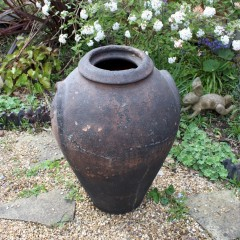 Large antique European olive terracotta garden urn