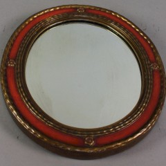 Rowley Gallery art deco orange and gilt framed mirror