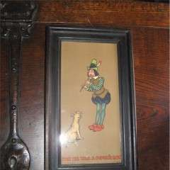 Arts and Crafts oak framed nursery print of tom the Pipers son playing his whistle to a dog
